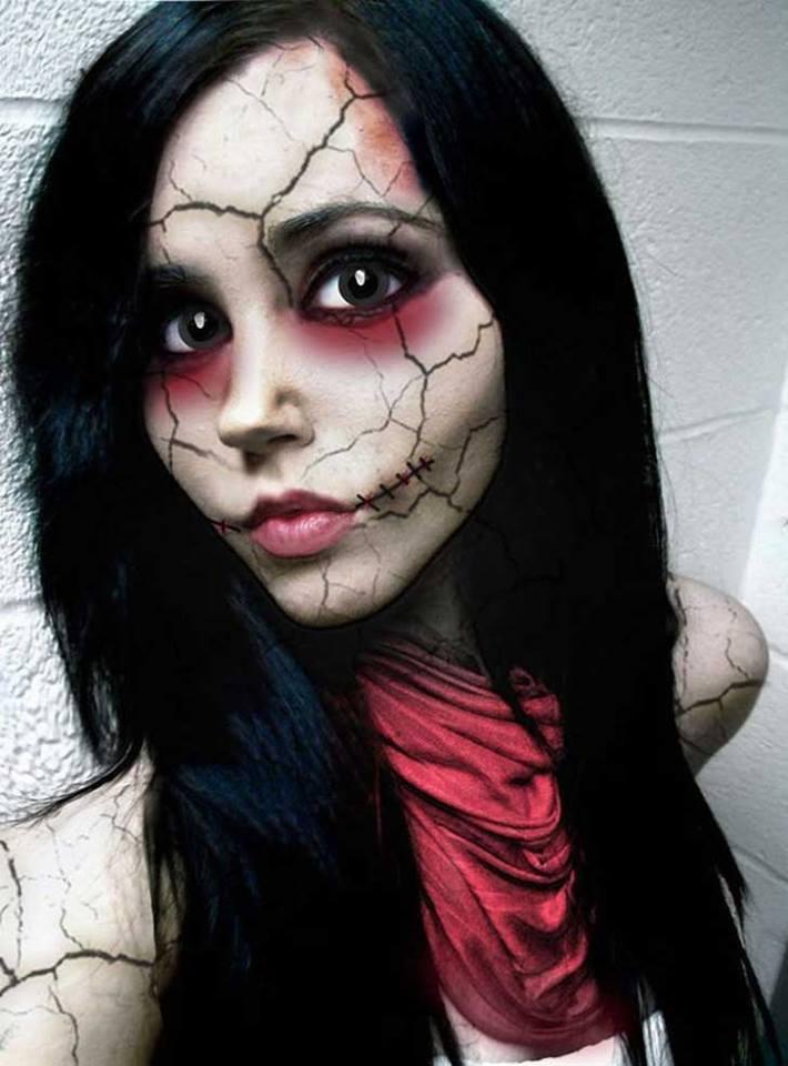 Make up muñeca de porcelana rota