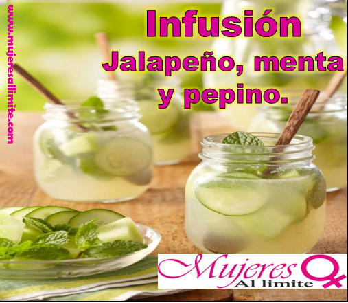 Esta deliciosa preparación de jalapeño,menta y pepino ayuda a reducir los dolores de cabeza,ayuda con la digestión y aumenta el metabolismo.